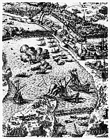 0165851 © Granger - Historical Picture ArchiveBUDAPEST: SIEGE, 1684.   Forces of Holy Roman Emperor Leopold I laying siege to Buda, Hungary, on the Danube River in 1684. Contemporary Italian line engraving.