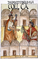 0027226 © Granger - Historical Picture ArchiveINCA QUIPU.   An Incan nobleman receives a report from an official, who holds a quipu used for counting and recording facts and events. Drawing c1600, by Felipe Guaman Poma de Ayala.