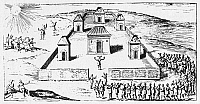 0044219 © Granger - Historical Picture ArchiveINCA HARVEST FESTIVAL.   Incas assembling for a havest festival at the Colcan temple garden of the sun. Woodcut, 1633, from a French edition of Garcilaso de la Vega's 'Histoire des Yncas, Roye du Peru.'