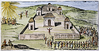 0044220 © Granger - Historical Picture ArchiveINCA HARVEST FESTIVAL   at the Colcan temple garden of the sun. Woodcut, 1633, from a French edition of Garcilaso de la Vega's 'Histoire des Yncas, Roye du Peru.'
