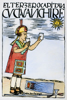 0105141 © Granger - Historical Picture ArchiveINCA SUN WORSHIP.   An Inca captain offers a libation to the sun, then drinks the offering himself in the belief that he is an incarnation of the sun god. Pen and ink drawing from 'El primer nueva cronica y buen gobierno,' 1583-1615, by Felipe Guaman Poma de Ayala.