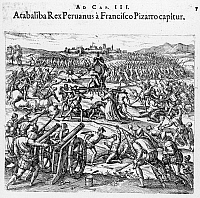 0117798 © Granger - Historical Picture ArchiveCAPTURE OF ATAHUALPA, 1532.   Capture of Atahualpa, the last Inca king of Peru, by the Spanish under Francisco Pizarro in 1532. Line engraving by Theodor de Bry, from 'India Occidentales,' 1598.