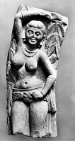 0013012 © Granger - Historical Picture ArchiveINDIA: JAIN SCULPTURE.   Sandstone sculpture of a Yakshini, a benevolent tree spirit in Sanskrit mythology, who looks after treasure hidden in the earth. From a Jain stupa at Mathura in Northern India, Kushan dynasty ear, 2nd century A.D.