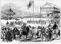 0016374 © Granger - Historical Picture ArchiveIMPERIAL DURBAR, 1877.   Queen Victoria proclaimed Empress of India at the Imperial Durbar at Delhi in January 1877. Contemporary English engraving.