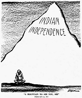 0032709 © Granger - Historical Picture ArchiveA MOUNTAIN TO SEE YOU, SIR.   American cartoon by D.R. Fitzpatrick, 1947, on the success of Mohandas K. Gandhi's campaign of non-cooperation with the British government in India to secure the country's independence.