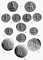 0056078 © Granger - Historical Picture ArchiveINDIA: KUSHAN COINS.   Gold coins of the Kushan and Kushan-Sassanian Dynasties of northwest India, 1st-4th centuries A.D.