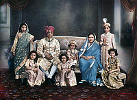 0105531 © Granger - Historical Picture ArchivePRATAP SINGH GAEKWAD   (1908-1968). Maharaja of Baroda, India, 1939-1951. Photographed with his wife, Seta Devi and their children, 1940s.