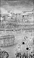 0119798 © Granger - Historical Picture ArchiveAURANGZEB (1618-1707).   Mughal emperor of India, 1658-1707. The emperor is borne on a palanquin to battle at the fortified city of Golconda, which was captured in 1687. Mughal painting, 17th or 18th century.