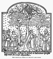 0122753 © Granger - Historical Picture ArchiveTREES OF THE SUN AND MOON.   The oracular trees of the sun and moon which are located in India, according to legend. Medieval woodcut.