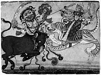 0123827 © Granger - Historical Picture ArchiveINDIA: DURGA, c1700.   Mahishasura Mardini, the Goddess Durga in the role of the slayer of Mahisha, the buffalo demon. Color on paper, Punjab Hills, India, c1700.