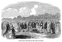0186630 © Granger - Historical Picture ArchiveSRI LANKA: RAILWAY, 1858.   Breaking ground for the Ceylon Railway (now the Sri Lankan Railway), by British colonialists. Engraving, English, 1858.