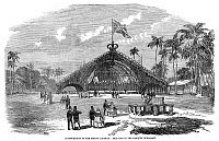 0186631 © Granger - Historical Picture ArchiveSRI LANKA: RAILWAY, 1858.   East end of the banquet bungalow during the celebration for the inauguration of the Ceylon Railway (now the Sri Lankan Railway), by British colonialists. Engraving, English, 1858.