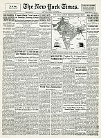 0259361 © Granger - Historical Picture ArchiveINDIAN INDEPENDENCE, 1947.   Front page of the New York Times, 15 August 1947, reporting on the end of British colonial rule in India with the establishment of India and Pakistan as separate independent states.