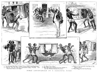 0370590 © Granger - Historical Picture ArchiveINDIA: PALANQUIN, 1885.   Sketches showing a British man struggling with travel in a palanquin in Calcutta, India, 1885.