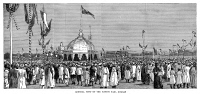 0370896 © Granger - Historical Picture ArchiveINDIA: GOLDEN JUBILEE, 1887.   General view of the native fair in Bombay, India, held in honor of Queen Victoria's Golden Jubilee, 1887. Contemporary English engraving.