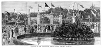 0370897 © Granger - Historical Picture ArchiveINDIA: GOLDEN JUBILEE, 1887.   Entrance to the native fair in Bombay, India, held in honor of Queen Victoria's Golden Jubilee, 1887. Contemporary English engraving.