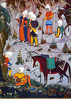 0027896 © Granger - Historical Picture ArchivePERSIAN ROYAL COURTIERS.   Royal courtiers. Detail of Persian manuscript miniature from an early 16th century edition of the 'Shah Namah' (Book of Kings) by Firdausi (940-1020).