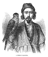 0265071 © Granger - Historical Picture ArchivePERSIAN FALCONER, 1873.   Portrait of a Persian falconer. Engraving, English, 1873.