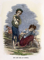 0008071 © Granger - Historical Picture ArchiveGREAT POTATO FAMINE, 1840s.   Starving Irish children searching for potatoes during the Great Potato Famine of 1846-47. Contemporary color engraving.