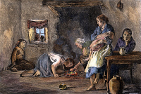 0008436 © Granger - Historical Picture ArchivePOTATO FAMINE.   Interior of a peasant's hut during the Great Potato Famine of 1846-47 in Ireland. Colored engraving, 19th century.