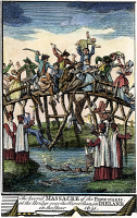 0051328 © Granger - Historical Picture ArchiveMASSACRE OF PROTESTANTS.   At the bridge over the River Ban, 1641. Copper engraving from a late 18th century English edition of John Foxe's 'The Book of Martyrs.'