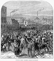0089187 © Granger - Historical Picture ArchiveBELFAST: RIOT, 1872.   Orangemen (Irish Protestants) attacking a Catholic procession in Belfast, Ulster, August 1872. Wood engraving from a contemporary English newspaper.
