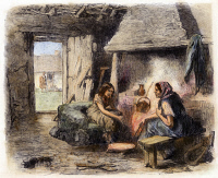 0096400 © Granger - Historical Picture ArchiveIRISH PEASANT CABIN, 1870.   Interior of a peasant cabin at Kildare, Ireland. Wood engraving, English, 1870.