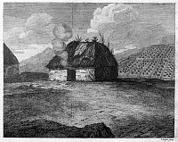 0109662 © Granger - Historical Picture ArchiveIRISH CABIN, 18th CENTURY.   An 18th century Irish cabin. Line engraving.