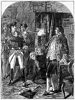 0113587 © Granger - Historical Picture ArchiveLORD EDWARD FITZGERALD   (1763-1798). Irish aristocrat and revolutionary. Fitzgerald's arrest for high treason by Dublin Town Major Henry Sirr, 18 May 1798. Wood engraving, late 19th century.