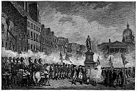 0113589 © Granger - Historical Picture ArchiveIRELAND: REBELLION, 1798.   'The Dublin Volunteers Saluting the Statue of William III on College Green, November 4, 1798,' at the end of the Irish Rebellion. Line engraving, late 19th century.