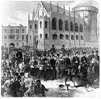 0621459 © Granger - Historical Picture ArchiveFENIAN RISING, 1867.   Members of the Irish Republican Brotherhood are marched through Dublin to Mountjoy Prison following the failed rebellion of 1867. Engraving, 1867.