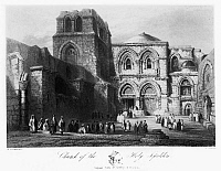 0122998 © Granger - Historical Picture ArchiveHOLY SEPULCHER.   The Church of the Holy Sepulcher in Jerusalem. Line engraving from W.H. Bartlett's 'Walks About the City and Environs of Jerusalem,' c1843.