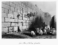 0122999 © Granger - Historical Picture ArchiveJERUSALEM: WAILING WALL.   The Wailing Wall in Jerusalem. Line engraving from W.H. Bartlett's 'Walks About the City and Environs of Jerusalem,' c1843.