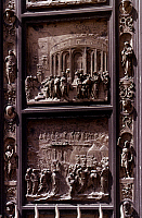 0024227 © Granger - Historical Picture ArchiveFLORENCE, ITALY: CATHEDRAL.   Doors of the Florence Baptistry, detail of 'The Gates of Paradise' by Lorenzo Ghiberti.