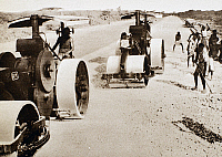 0037605 © Granger - Historical Picture ArchiveABYSSINIAN CAMPAIGN, 1936.   Italian military operations in Ethiopia. Ethiopian laborers at work on a new road that enables Italian troops under General Rodolfo Graziani to launch attacks on the Harrar District in early 1936.