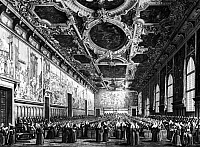 0124591 © Granger - Historical Picture ArchiveVENICE: DOGE'S PALACE.   Meeting of senators at the Doge's Palace in Venice, Italy. Engraving after a painting by Giovanni Antonio Canaletto, 18th century.