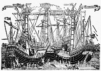 0125212 © Granger - Historical Picture ArchiveBATTLE OF ZONCHIO, 1499.   The naval Battle of Zonchio in the Ionian Sea, during the Ottoman Venetian War, 1499. Contemporary woodcut by an unknown Venetian artist.