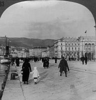 0325439 © Granger - Historical Picture ArchiveITALY: TRIESTE, c1918.   Street scene on the waterfront of Trieste, Italy. Stereograph, c1918.