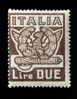 0407602 © Granger - Historical Picture ArchiveITALY: STAMP, 1923.   Postage stamp from Italy, 1923, celebrating the March on Rome and Benito Mussolini's rise to power.