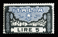 0407603 © Granger - Historical Picture ArchiveITALY: STAMP, 1923.   Postage stamp from Italy, 1923, celebrating the March on Rome and Benito Mussolini's rise to power.