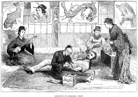 0002312 © Granger - Historical Picture ArchiveTATTOO PARLOR, 1882.   A European being tattooed at a Nagasaki, Japan, parlor. Wood engraving, English, 1882.