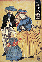0031993 © Granger - Historical Picture ArchiveJAPAN: AMERICANS, 1861.   An American family at Yokohama. Japanese woodblock print, 1861.