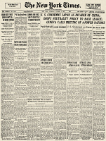0034143 © Granger - Historical Picture ArchiveU.S. CONDEMNS JAPAN, 1937.   Front page of the New York Times for 7 October 1937 announcing the U.S. condemnation of Japan's conduct in China and accusations that Japan violated both the Nine-Power Treaty of 1922 and the Kellogg-Briand Pact of 1928.