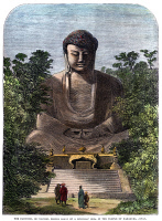 0046386 © Granger - Historical Picture ArchiveBUDDHA: KAMAKURA, JAPAN.   'The Daibutsu, or colossal bronze image of a Buddhist idol, in the temple of Kamakura, Japan.' Color engraving, 1865.