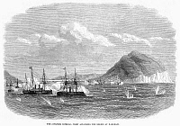 0100185 © Granger - Historical Picture ArchiveJAPAN: NAVAL BATTLE, 1869.   The Battle of Hakodate Bay, 4-10 May 1869, between the Tokugawa shogunate navy of the Ezo Republic and the newly formed Imperial Japanese Navy. Wood engraving from a contemporary English newspaper.