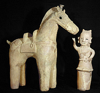 0102960 © Granger - Historical Picture ArchiveJAPAN: HANIWA FIGURE.   Funerary figure of a horse and rider. Fired clay, Japanese, middle Kofun period, 4th-5th century A.D.