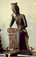 0102991 © Granger - Historical Picture ArchiveJAPAN: BUDDHA, c606 A.D.   Red pine wood statue of Buddha of the Future, called Miroku Bosatsu or Maitreya, at Koryu-ji, Kyoto. Japanese, c606 A.D.