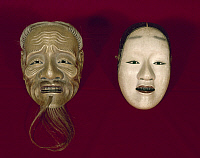 0103163 © Granger - Historical Picture ArchiveJAPAN: NOH MASKS, c1450.   Mask of a young woman (left) and an old man used for Noh theater.