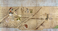 0103179 © Granger - Historical Picture ArchiveJAPAN: RICE FARMING.   Farmers digging up the paddies before seeding the rice. Japanese scroll painting, late-16th century.