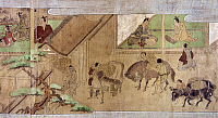 0103184 © Granger - Historical Picture ArchiveJAPAN: TAXATION, c1575.   Farmers pay taxes in rice to their local daimyo. Japanese scroll painting, late-16th century.